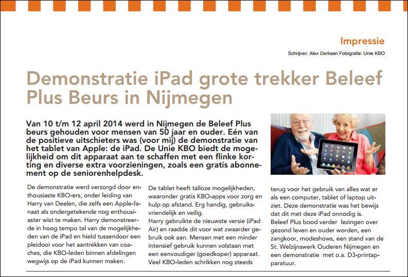 KBO Gld Demonstratie iPad op beurs