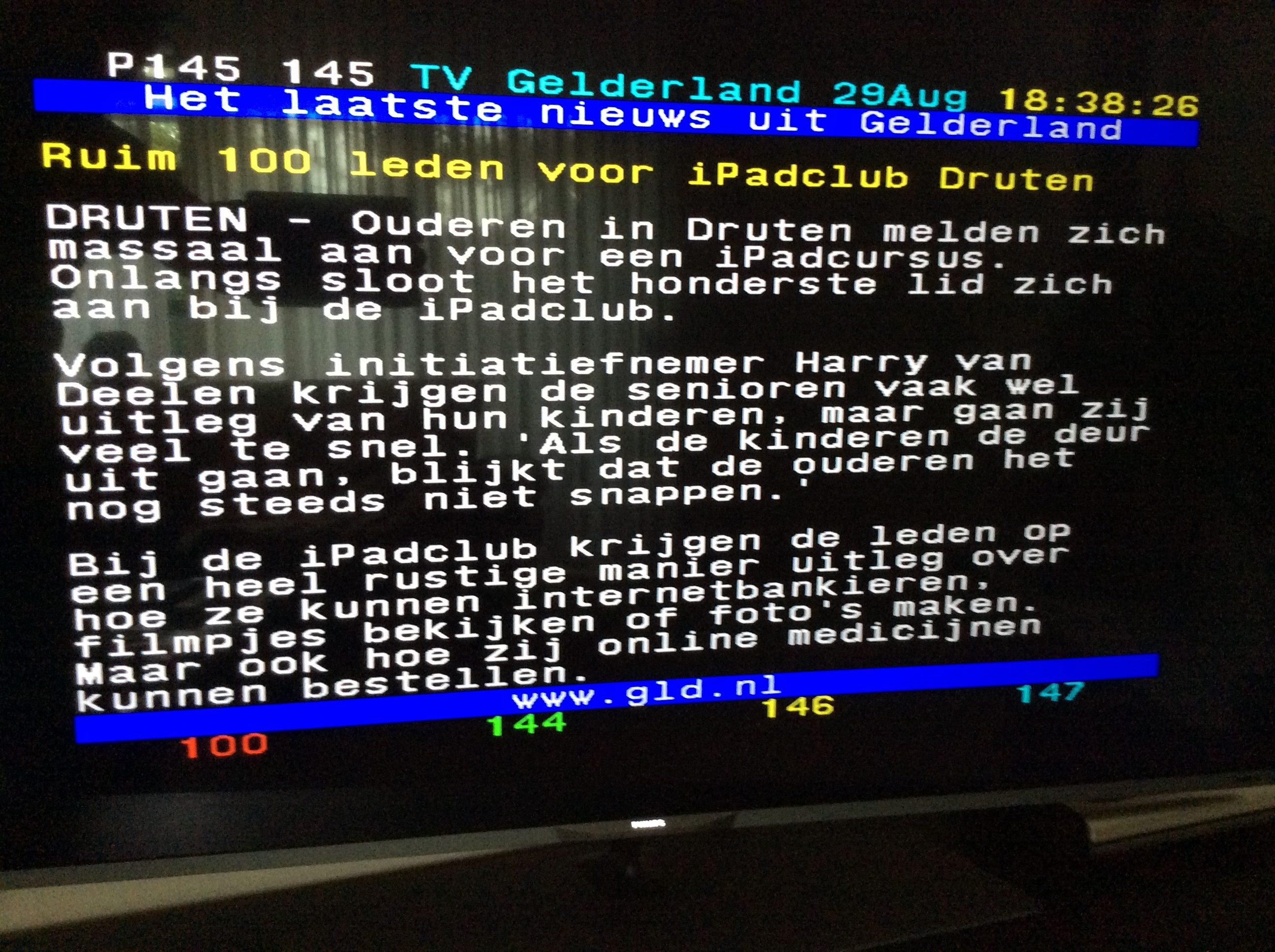 Omroep Gelderland teletekst bericht