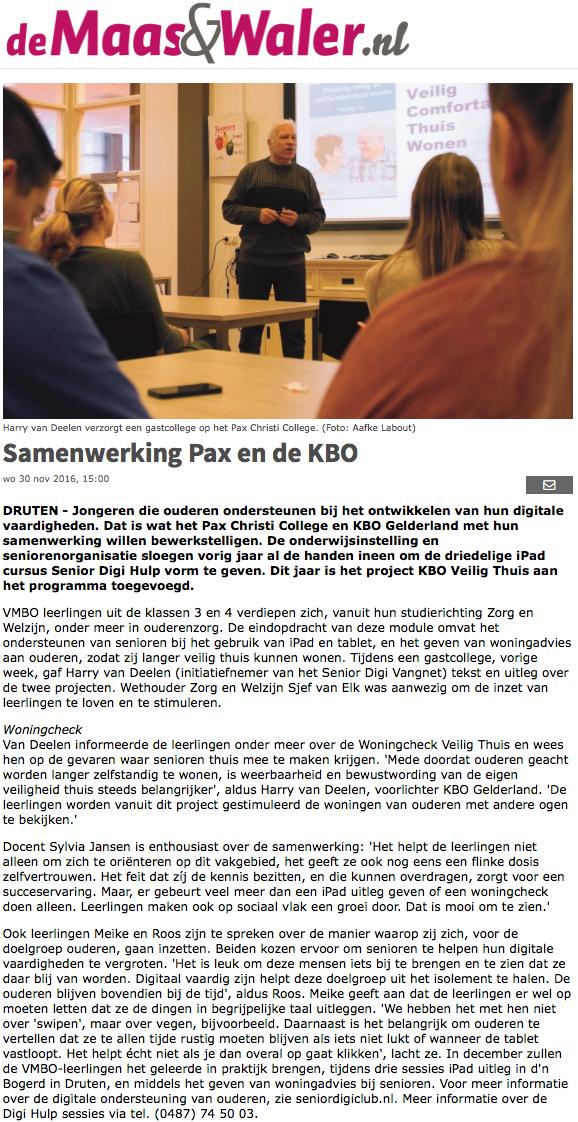 Samenwerking Pax en de KBO