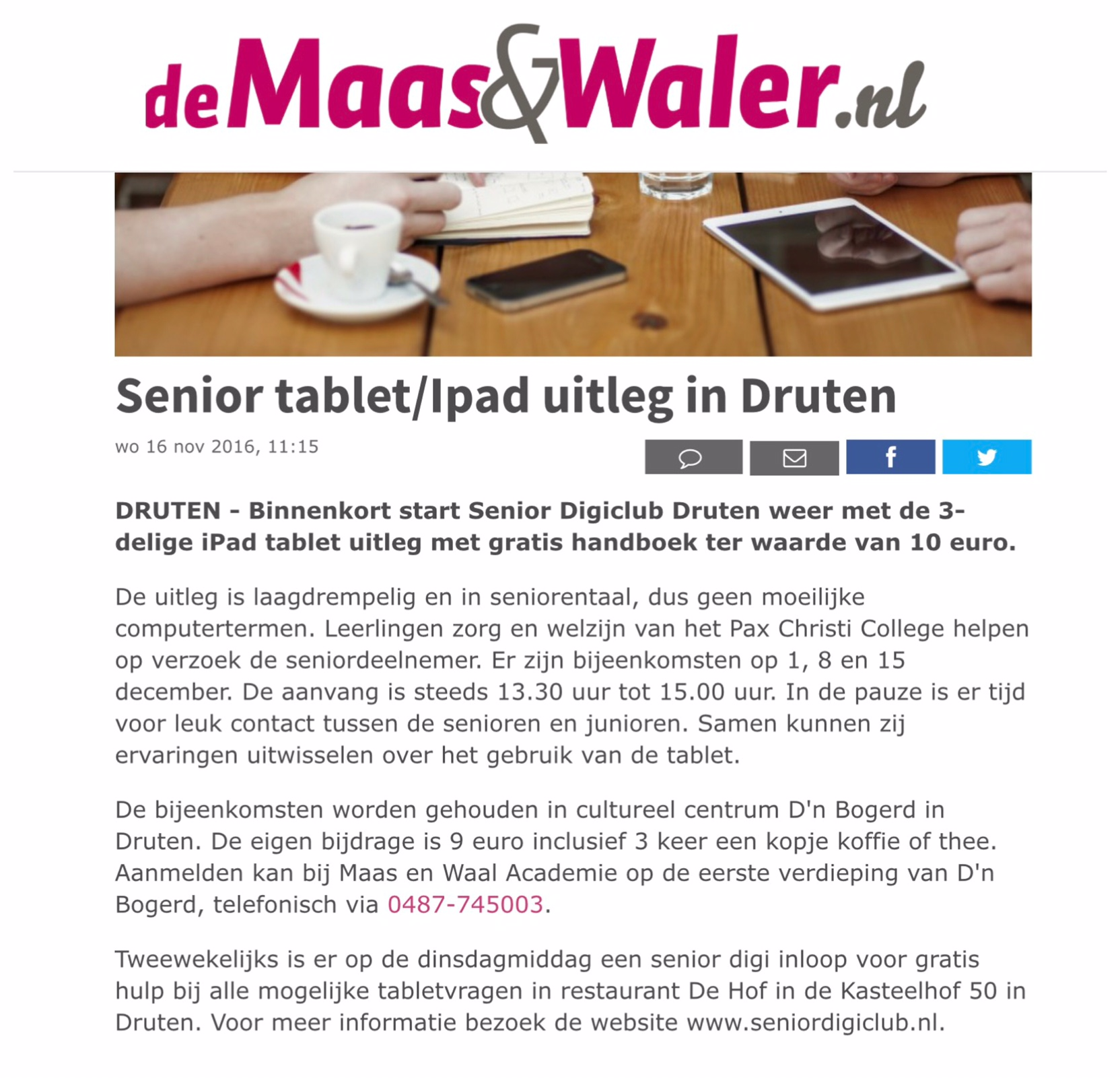 Senior tablet iPad uitleg in Druten