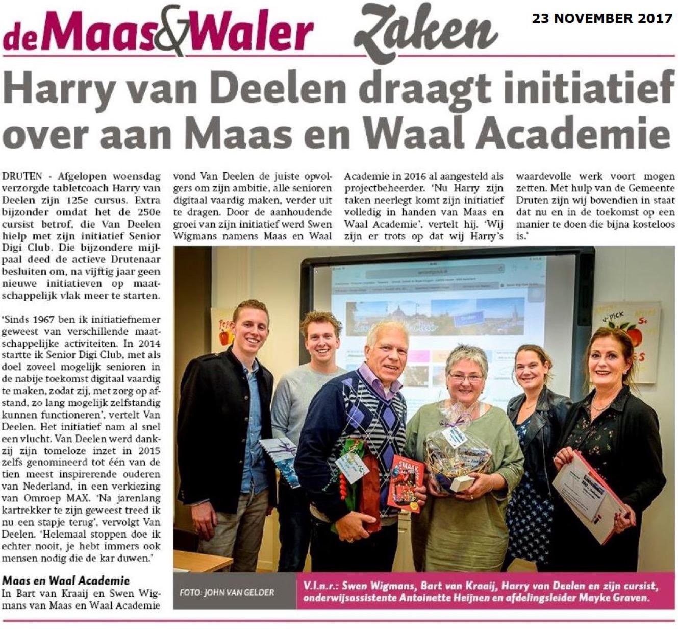 Harry van Deelen draagt initiatief over aan Maas en Waal Academie